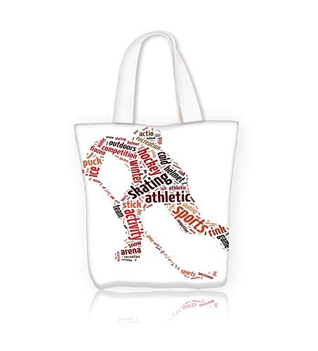 canvas tote bagWords of a man playing hockey over white reusable canvas bag bulk for grocery,shopping W21.7xH14xD7 INCH ()