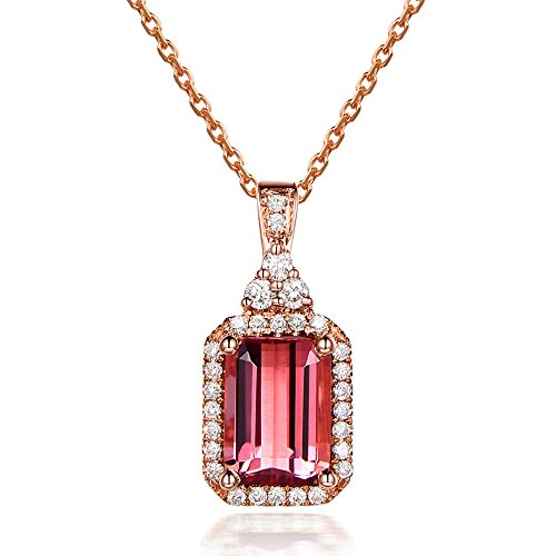 (5x7mm Emerald Cut Natural Pink Tourmaline Cluster Diamond Halo Solid 14k Rose Gold Pendant Necklace Chain)