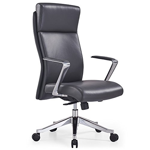 Adjustable Ergonomic Draper Leather Executive Chair with Aluminum Frame- Dark Grey price