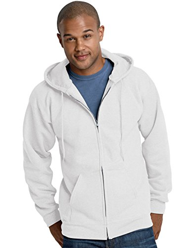 (Hanes mens 9.7 oz. Ultimate Cotton 90/10 Full-Zip Hood(F280)-White-2XL )