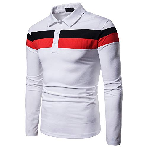 Sunhusing Casual Men's Personality Striped Paneled Polo Shirt Long Sleeve Top Work Shirt
