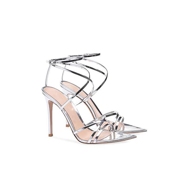 Sandali Stiletto Tacco Alto Sexy Peep Toe mwoook-622 A Spillo Con Cinturino Caviglia Fibbia