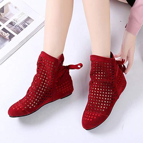 Booties Schuhe Rot Flache Keile Ferse Lässige Damen Ausschnitt Schwarz Stiefel Sonnena Stiefeletten Stiefel aushöhlen Mode Damenstiefel Knöchel Klassische Boots pqxvBP