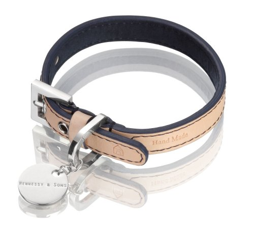 Hennessy Medium Leather Dog Collar, Natural LV with Navy Lining, My Pet Supplies