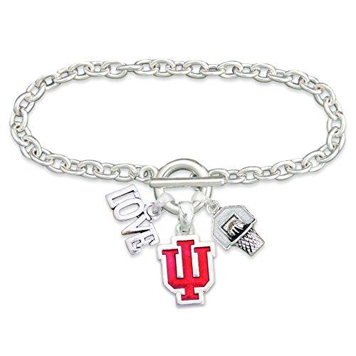 FTH Indiana Hoosiers Silver Tone Slam Dunk Basketball Charm Bracelet