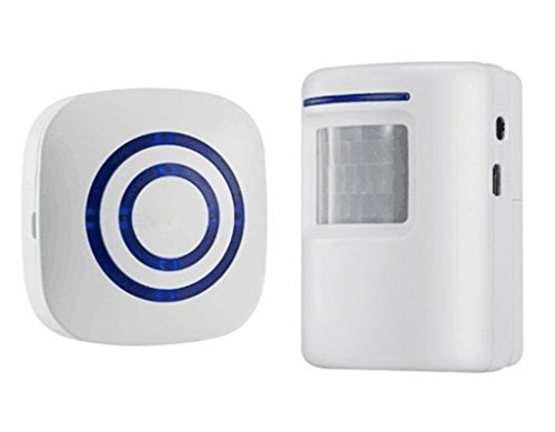 Motion Sensor Door Chime for Business, Outdoor Doorbell Kit Wireless Driveway Alert: Infrared Motion Sensor Chime with 1 Plug-in Receiver and 1 PIR Motion Sensor Detector Alert - LED Indicators