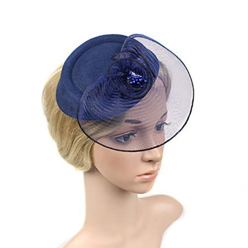 Baobao Wedding Bridal Cocktail Party Bow Net Veil Fascinator Hair Clip Mini Top Hat