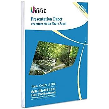 Matte Photo Paper Double Sides 8.5x11 - 100sheets Uinkit Inkjet Paper 8.5Mil 180Gsm For Inkjet Printer