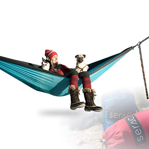Serac Sequoia XL Wide Double Hammock with Ripstop Nylon and Quick-Hang Suspension System, Snowmelt Grey/Teal