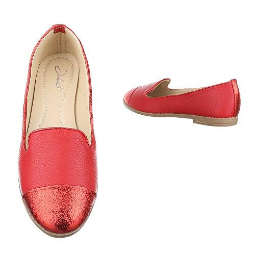 Ital-Design - Mocasines de Material Sintético para mujer Rojo