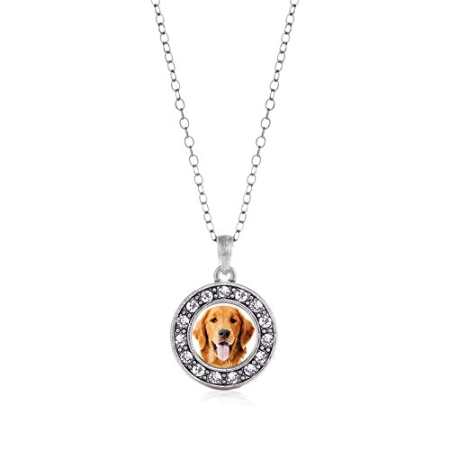 - Inspired Silver The Golden Retriever Circle Charm Necklace Clear Crystal Rhinestones