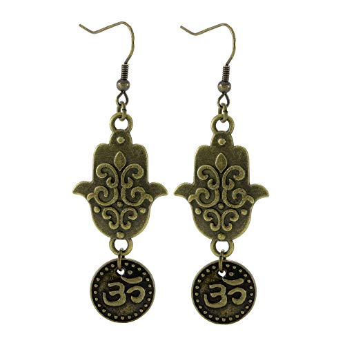 Hamsa and Om Earrings, Bronze/Brass Tone Jewelry, Handmade Fishhook Dangle Women