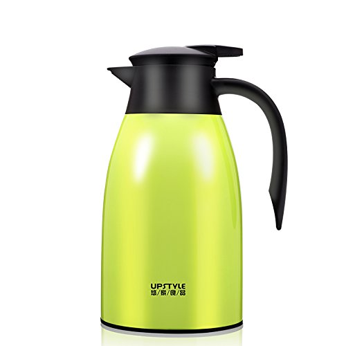 - UPSTYLE Thermal Carafe, 34oz Big Capacity Coffee Carafe Double-Wall Vacuum Insulated Stainless Steel Thermos Coffee Pot, Jug Flask, Tea Pot Water Pitcher with Press Button (Green 34oz)