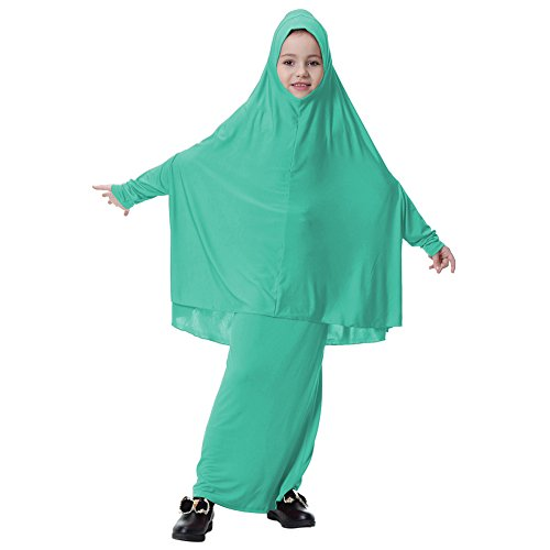 Maxi Little Weixinbuy Clothing Robe Green Abaya 2PC Girl Dresses Jersey Islamic Abayas Hijab Muslim dZSSqxpwY
