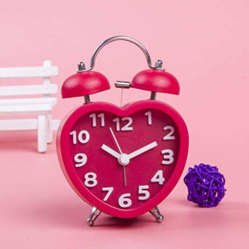 GOPG Cute Heart-Shaped Alarm Lazy Bug Alarm Clock Table Bedroom Bedside Electronic Clock -red