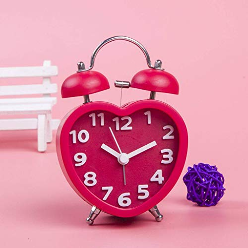 GOPG Cute Heart-Shaped Alarm Lazy Bug Alarm Clock Table Bedroom Bedside Electronic Clock -red - Heart Shaped Clock