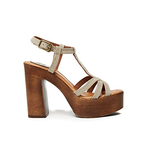 UMA Plateau-Sandalen Aus Echtem Leder für Damen Beige