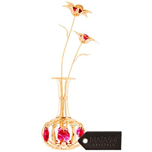 Matashi SunFlowers In vase Ornament Crafted with Stunning Clear Crystals, Comes in Luxury Packaging – Great Gifts idea for Father from Daughter, Son by (Gold, Red Crystals)