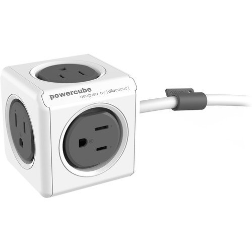 Allocacoc PowerCube Extended, 5 Outlet Adapter and Surge Protector 5ft Extension Cord Power Strip with 5 outlets (Grey)
