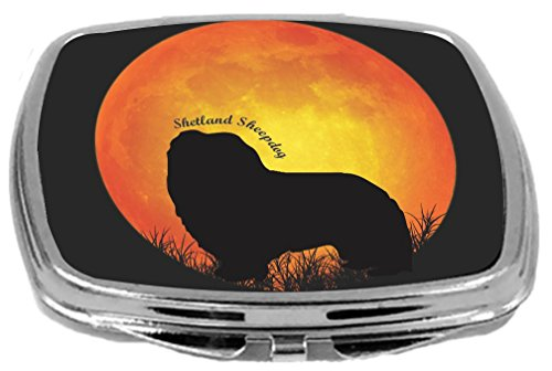 d Sheepdog Dog Silhouette By Moon Design Compact Mirror ()