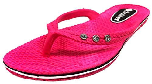 Flip Rhinestones Comfort Women's Fuchsia Flop Chatties with 07CzAxwwq