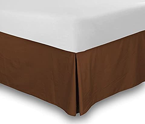 Utopia Bedding Cotton Sateen Bed-Skirt (Twin, Brown) - 100% Finest Quality Long Staple Fiber - Durable, Comfortable and Abrasion Resistant, Quadruple Pleated, Cotton Blended (Bedskirt For Twin Bed)