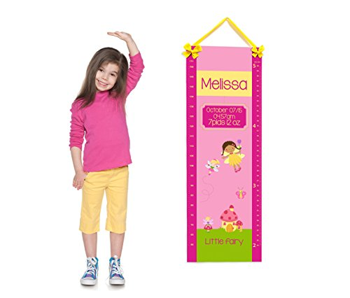 Personalized Girl Room Growth Chart, Pink and Yellow with Mushroom House