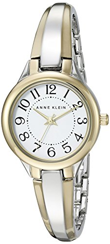 Anne Klein Women's AK/2453WTTT Easy To Read Dial Two-Tone Bangle Watch