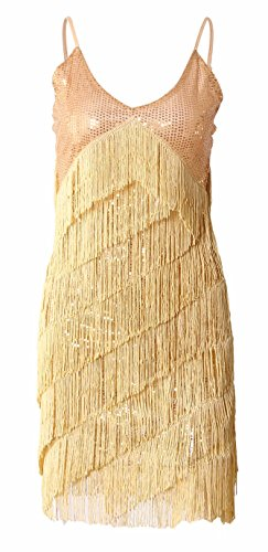 [JustinCostume 1920s Sequins Tassel Cocktail Latin Party Dress, L, Gold] (Tina Turner Wig)