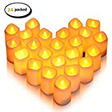 LUNSY 24 Packed Candle Lights Warm White Flameless LED Tea Lights Button Cell Powered Candle Lights for Decor Party Wedding