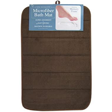 Envision Home Microfiber Bath Mat with Memory Foam, 16 by 24-Inch, Espresso