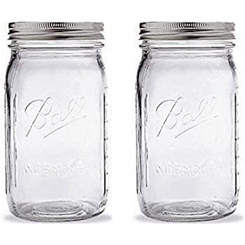 Ball Quart Jar with Silver Lid, Wide Mouth, Set of 2