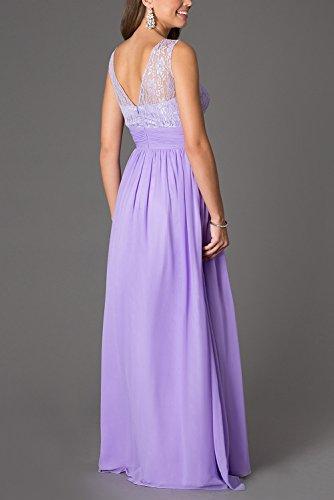 brlmall de la mujer joya cuello encaje parte superior largo gasa pastel de dama Prom Fiesta rosa rosa 46