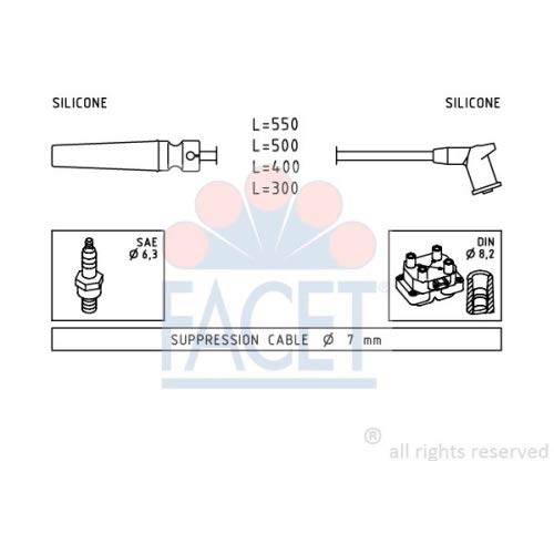 Facet 4.9509 Ignition Leads Kit: