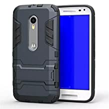 Moto G 3rd Gen Case,Gift_Source [Dual Layer Design] TPU+Hard case Hybrid Combo Armor Defender Rugged Protective Case With Built-in Kickstand For Motorola Moto G3 (3rd Generation) [Blue Black]