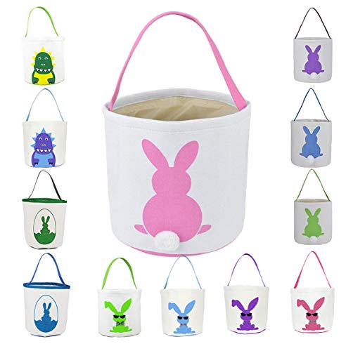 Easter Basket for Kids Easter Bunny Bag Easter Decorations (Pink)