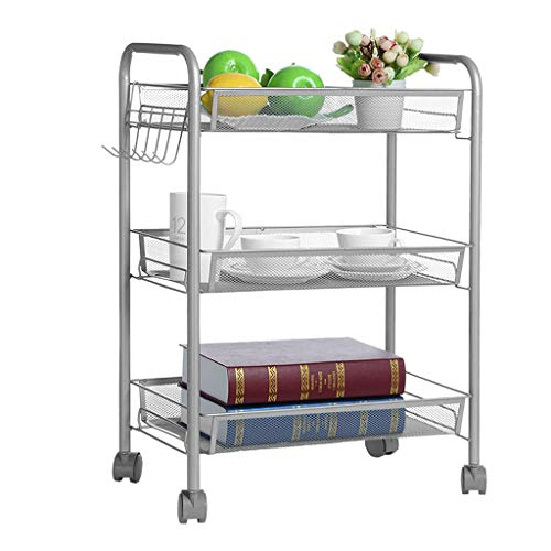 Price comparison product image Puyujin 3-Tier Mesh Wire Rolling Cart Multifunction Utility Cart Kitchen Storage Cart on Wheels,  Steel Wire Basket Shelving Trolley, Easy Moving (Silver)