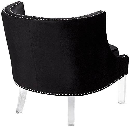 Lucy Black Velvet Accent Chair With Clear Acrylic Legs