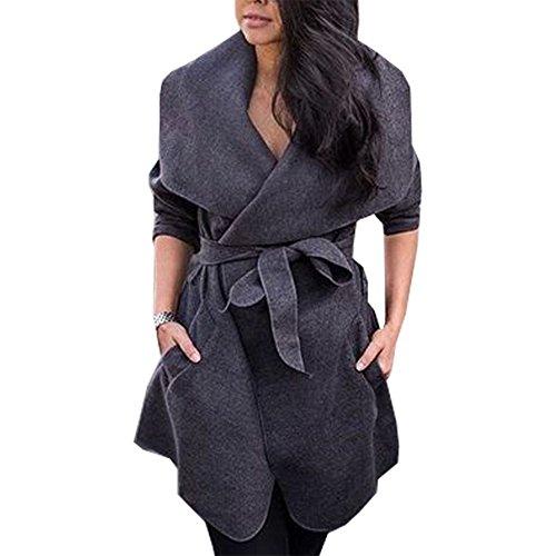 Grande Romacci Invierno Informal de Mujer Ropa Manga de Gris Abrigo de Negro Solapa para Bolsillos de Caqui Gris Abrigo Larga Sólido Chaqueta rzqwETr