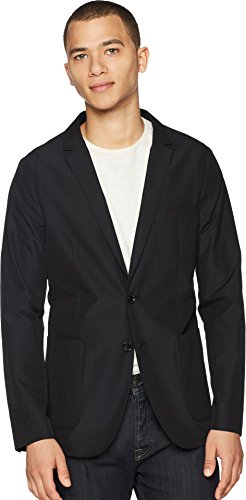 Calvin Klein Men's Packable Seersucker Blazer Jacket, Black, Medium (Calvin Klein Cotton Blazer)