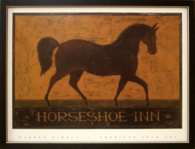 Amazon.com: Big Framed Horse Shoe Inn Horseshoe Warren Kimble Art ...