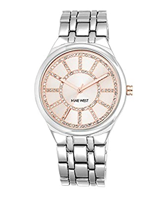 Nine West Women's NW/1807PKSB Glitter Accented Pink Dial Silver-Tone Bracelet Watch