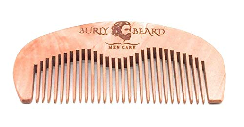 Beard Comb Hair mustache Natural Wood, Anti Static & Sang Free Beard Comb With Luxury & Durable Gift Box & Black Velvet Bag. Peach Wood. Pocket Size On The Go For Traveling Great Gift