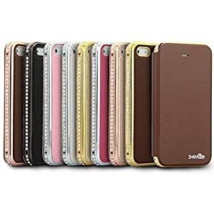 MOM ships in 48 hours ShenGo Luxury Diamond Metal Bumper With Flip Leather Case for iPhone 5/5S(Assorted Colors)