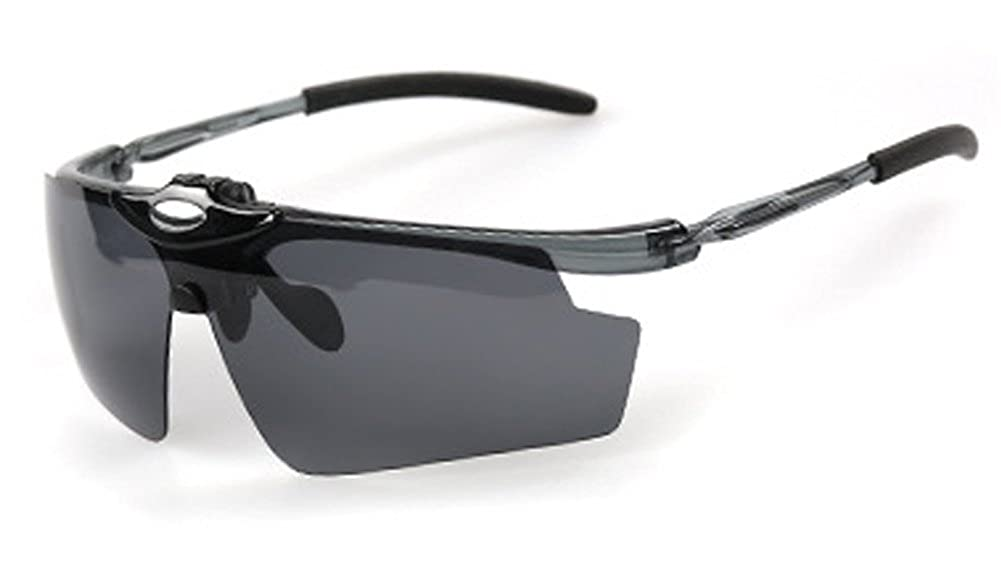 9ee5ed926b Amazon.com  Polarized Sports Sunglasses UV Protective 5 Set Interchangeable  Lenses for Driving  Clothing
