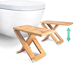 """RELAXX Toilet Stool - Folding Bamboo Squat Stools - 7"""", 8"""", 9"""" Easy Adjustable - The Original Portable Bathroom Footstool (One Pair)"""
