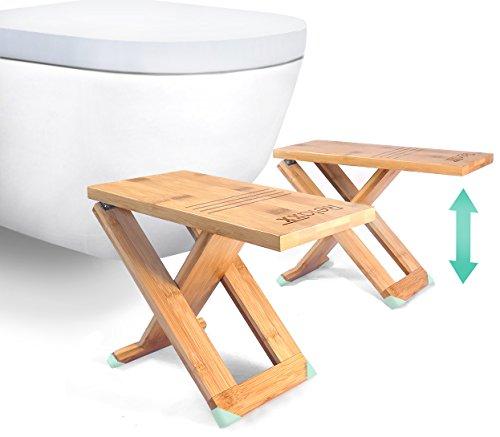 """RELAXX Toilet Stool - Folding Bamboo Squat Stools - 7"""", 8..."""