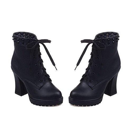 AllhqFashion Damen Eingelegt Reißverschluss Hoher Absatz Stiefel mit Rivet Set, Schwarz, 40