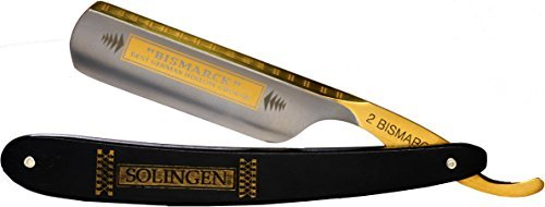 Dovo Solingen Bismarck Straight Razor Ebony Wood Handle with 24 Gold Carat Etch - Dovo Bismarck 6/8'' Full Hollow Carbon Steel Straight Razor - Black Ebony - Gifts for Men by Straight Razor