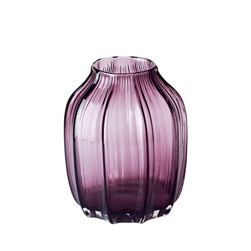 CASAMOTION Vases Hand Blown Solid Color Home Decor Centerpieces Gift Art Ribbed Glass Vase, Violet, 8'' -